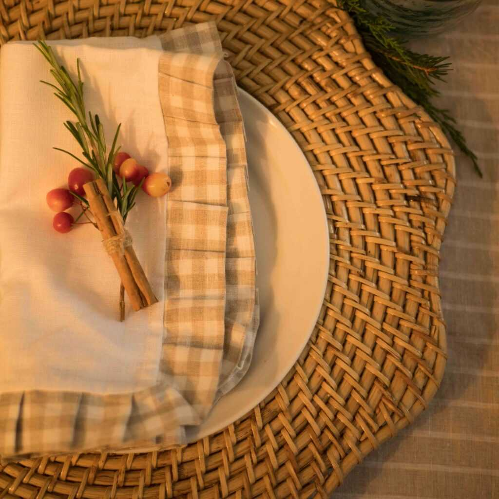 cassie rattan placemat and linen napkin